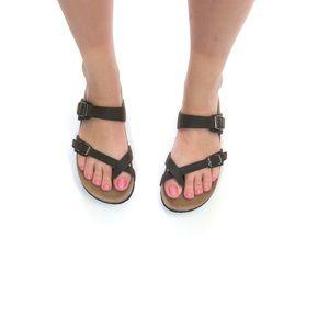 Shoes - Soft Vegan Leather Birk Style Sandals New Dark Bro
